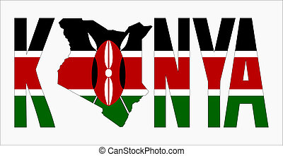 Kenya text with map on Kenyan flag illustration