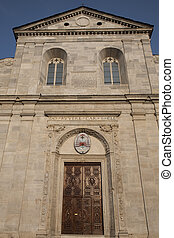 The main facade of the Duomo Cathedral Church in Turin; Italy