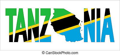 Tanzania text with map on flag illustration