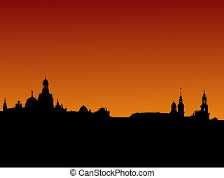 Dresden skyline at sunset - Dresden skyline with church...