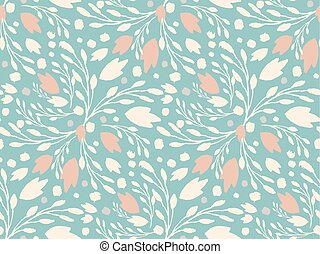 Organic floral pattern in muted green color