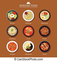 Set of korean food flat design. Asia street food...