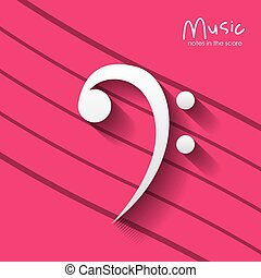 music note over striped background design