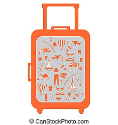 Nice picture of colorful suitcase with different pictures on the theme of leisure