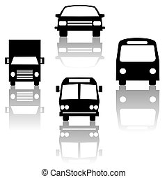 bus truck car and train silhouettes - bus truck car and...