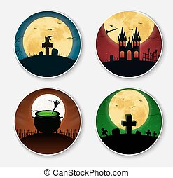 Design stickers icons on Halloween Templates with orange,...