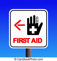first aid sign - first aid station sign with arrow...
