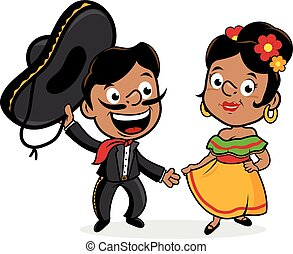 Mexican mariachi man and woman wearing a sombrero, and...
