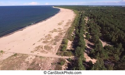 aerial view of sea bank - aerial view of sandy sea beach