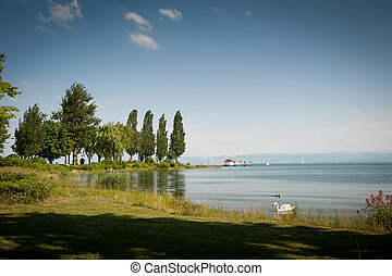View over Lake of Constance, shore at Immenstaad