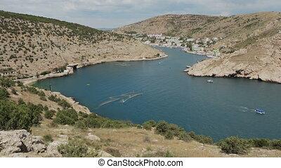 Balaklava is popular Crimean resort. Bay former submarine...