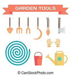 Set of various gardening items. Garden tools. Flat design illustration of items for agricultural work. Vector illustration.