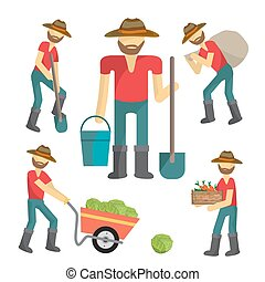 Farmers at work harvesting crops and vegetables with agricultural tools. Cartoon flat isolated vector illustration