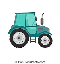 Green tractor on white background Farming and agriculture...