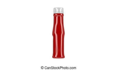 Plastic bottle of ketchup, spin on white background