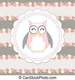 shabby chic owl illustration