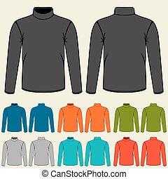 Set of colored turtlenecks templates for men