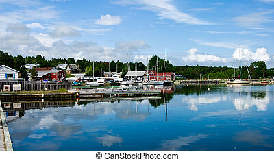 Baddeck Harbor - Panorama of Baddeck Harbor on Cape Breton...