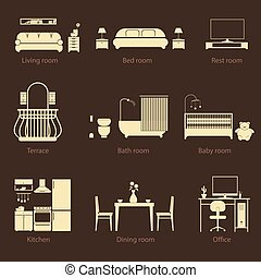 Set of home room types. Thin line style. Furniture in house....