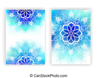 Design with white mandala - Colorful design with contoured...