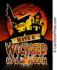 Halloween Wicked Bats - Have a Wicked Halloween Chrome...