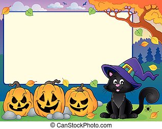 Autumn frame with Halloween cat