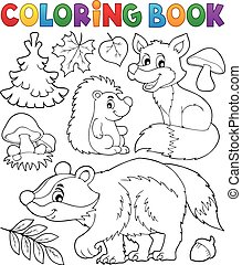 Coloring book forest wildlife theme 1 - eps10 vector...
