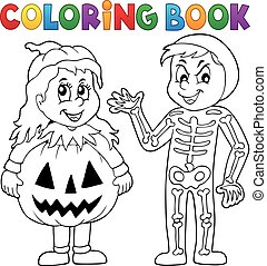 Coloring book Halloween costumes theme 1 - eps10 vector...