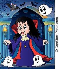Vampire girl theme illustration