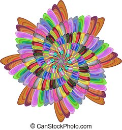 Multicolored computer generated spiral fractal flower design