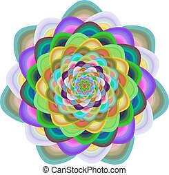 Colorful computer generated floral fractal design - Colorful...