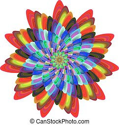 Colorful computer generated spiral fractal flower design