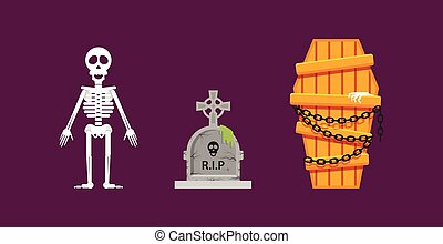 Skeleton, wooden coffin with chains, tombstone for halloween in flat style