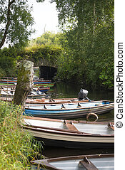 rowing boats moored at ross castle in killarney county kerry...
