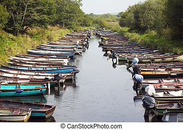 rowing boats moored near ross castle - rowing boats moored...