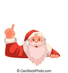 Santa Claus pointing up on a white background