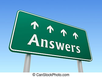 answers direction sign concept  3d illustration