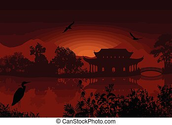 Beautiful asian landscape near water on red sunset, vector...