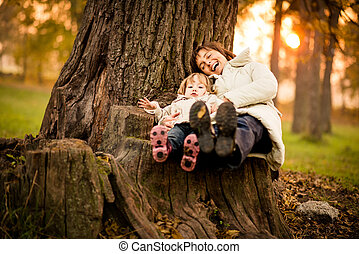 Having fun together - Mother child having fun together in...