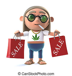 3d Stoner hippie has been to the sales - 3d render of a...