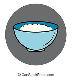 healthy food icon. porridge, blue plate of oatmeal sign