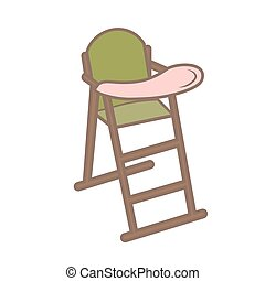 Vector illustration green baby chair for feeding. High wooden .