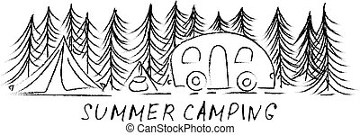Summer camping. vector illustration.