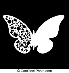 White Butterfly Wedding Place Card with floral ornament....