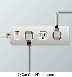 power socket and plugs vector Illustration