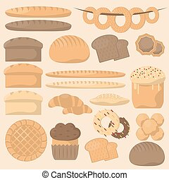 Bakery or pastry product types. - Various sorts of bread....