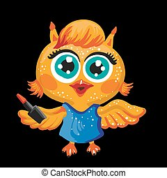 Vector cute owl Cartoon character Make-up artist Isolated...