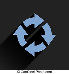 Flat blue arrow icon reset, repeat sign