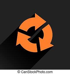 Flat orange arrow icon reset, repeat sign - Orange arrow...
