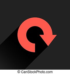 Flat red arrow icon, refresh, reset, repeat sign